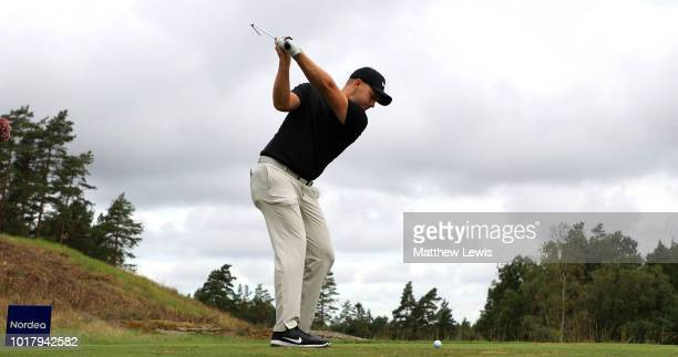 Paul Waring plays his second shot on the 18th hole during day two of the Nordea Masters at Hills Golf Club on August 17 2018 in Gothenburg Sweden