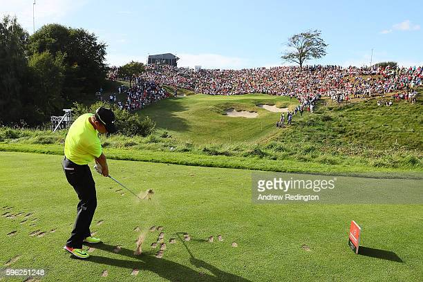 Tom Lewis of England tees off on the 16th hole during the third round of Made in Denmark at Himmerland Golf Spa Resort on August 27 2016 in Aalborg...