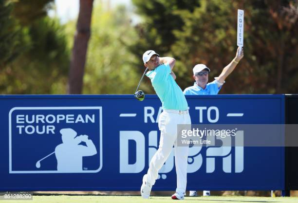Tom Lewis of England tees off on the 17th hole during day two of the Portugal Masters at Dom Pedro Victoria Golf Club on September 22 2017 in...