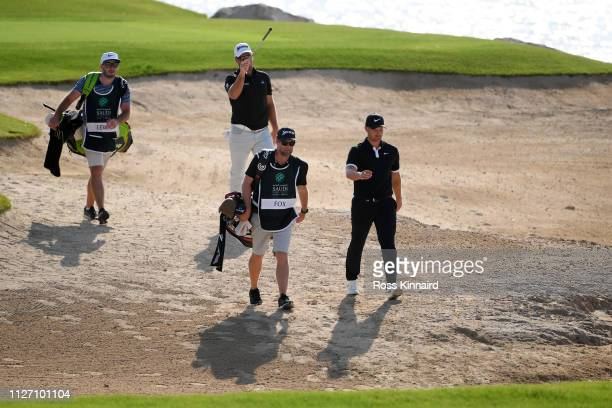 Tom Lewis of England walks on the 16th hole during Day four of the Saudi International at the Royal Greens Golf Country Club on February 03 2019 in...