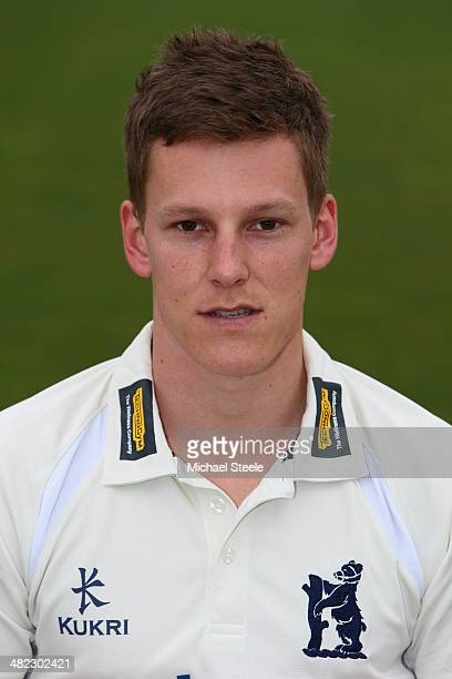 Tom Lewis of Warwickshire poses in the LV County kit during the Warwickshire CCC photocall at Edgbaston on April 3 2014 in Birmingham England
