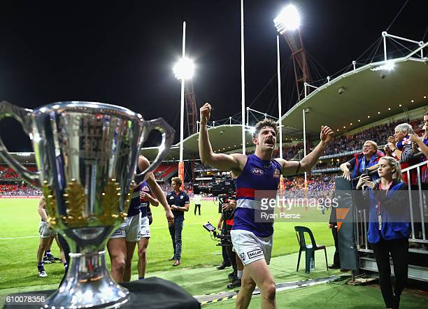 Tom Liberatore of the Bulldogs celebrates victory after the AFL First Preliminary Final match between the Greater Western Sydney Giants and the...