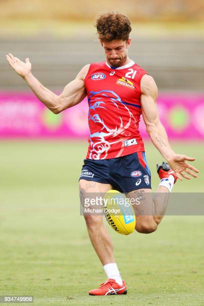 Tom Liberatore of the Bulldogs kicks the ball during a Western Bulldogs AFL training session at Whitten Oval on March 20 2018 in Melbourne Australia