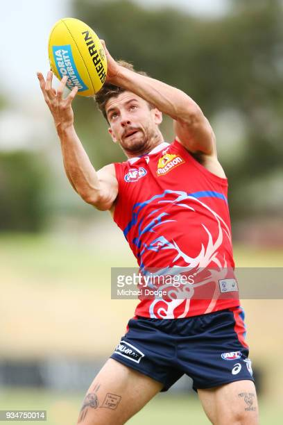 Tom Liberatore of the Bulldogs marks the ball during a Western Bulldogs AFL training session at Whitten Oval on March 20 2018 in Melbourne Australia