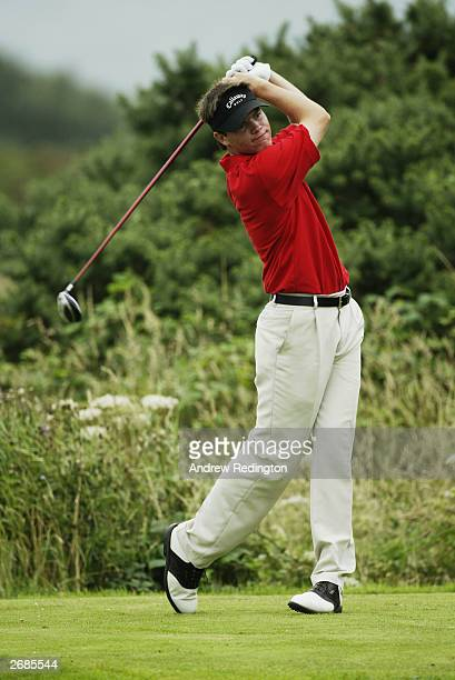 Tom Light of Wales tees off during the Boys Home Internationals on August 6 2003 at Royal St David's Golf Club in Harlech Wales
