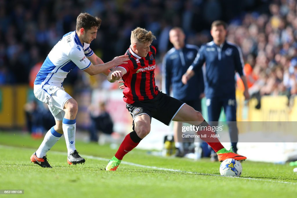 Tom Lockyer of Bristol Rovers and Stephen Humphrys of Shrewsbury Town during the Sky Bet League One match between Bristol Rovers and Shrewsbury Town at Memorial Stadium on April 1, 2017 in Bristol, England.