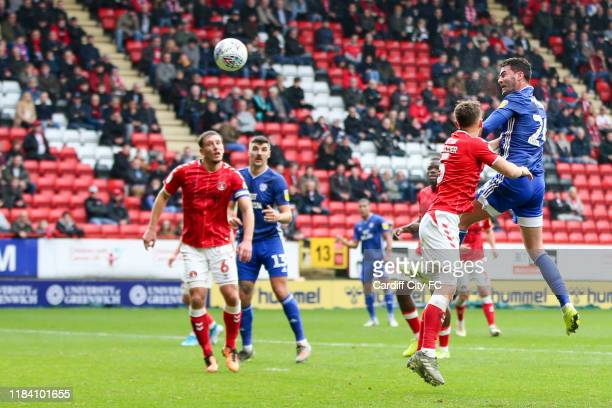 Tom Lockyer of Charlton Athletic and Gary Madine of Cardiff City FC during the Sky Bet Championship match between Charlton Athletic and Cardiff City...
