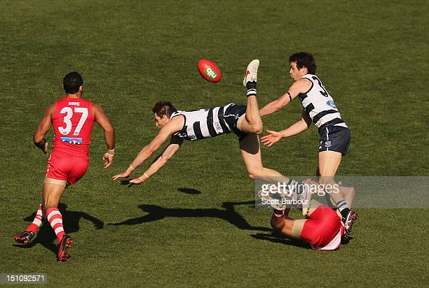 Tom Lonergan of the Cats competes for the ball during the round 23 AFL match between the Geelong Cats and the Sydney Swans at Simonds Stadium on...