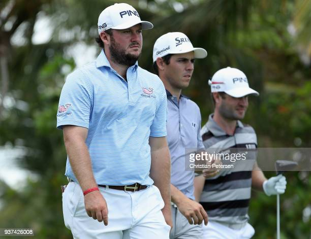 Tom Lovelady Matt Atkins and David Lingmerth of Sweden wait to tee off on the seventh tee during round three of the Corales Puntacana Resort Club...