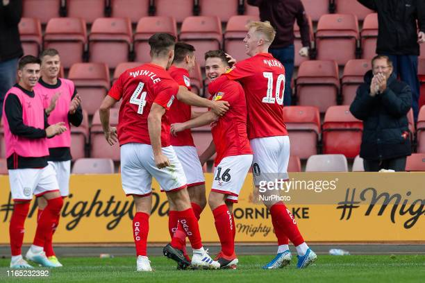 Tom Lowery of Crewe Alexandra celebrates after putting crewe in the lead during the Sky Bet League 2 match between Crewe Alexandra and Bradford City...
