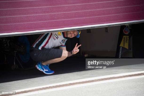 Tom Luthi of Switzerland and and Team EG 0,0 Marc VDS greets in box during the MotoGP Testing - Qatar at Losail Circuit on March 1, 2018 in Doha,...