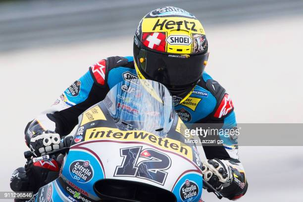 Tom Luthi of Switzerland and and Team EG 0,0 Marc VDS heads down a straight during the MotoGP Tests In Sepang at Sepang Circuit on January 28, 2018...