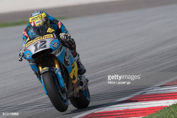 Tom Luthi of Switzerland and and Team EG 00 Marc VDS heads down a straight during the MotoGP test in Sepang at Sepang Circuit on January 30 2018 in...