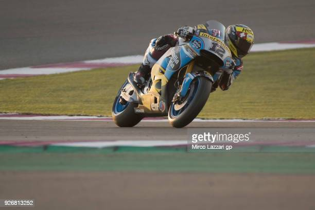Tom Luthi of Switzerland and and Team EG 00 Marc VDS heads down a straight during the Moto GP Testing Qatar at Losail Circuit on March 3 2018 in Doha...