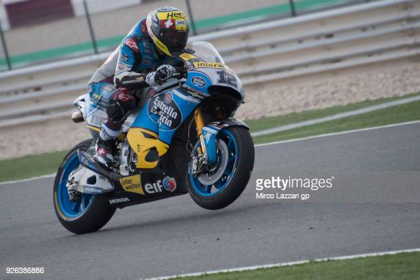 Tom Luthi of Switzerland and and Team EG 00 Marc VDS lifts the front wheel during the Moto GP Testing Qatar at Losail Circuit on March 2 2018 in Doha...