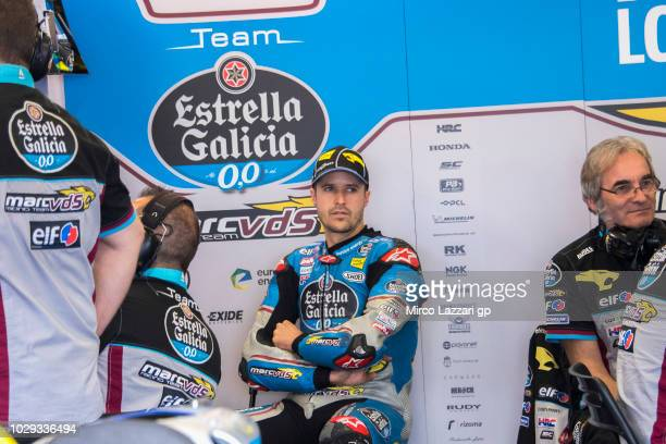 Tom Luthi of Switzerland and and Team EG 00 Marc VDS looks on in box during the qualifying practice during the MotoGP of San Marino Qualifying at...