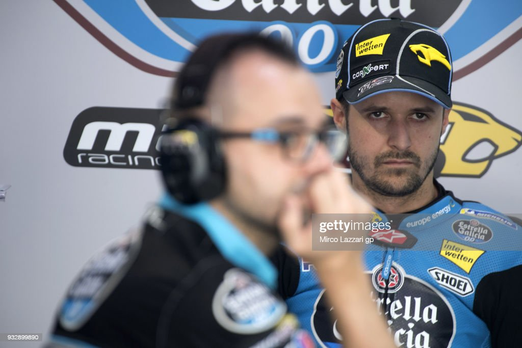 Tom Luthi of Switzerland and and Team EG 0,0 Marc VDS looks on in box during the MotoGP of Qatar - Free Practice at Losail Circuit on March 16, 2018 in Doha, Qatar.