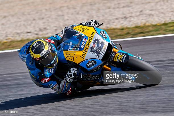 Tom Luthi of Switzerland and and Team EG 00 Marc VDS rides during MotoGP free practice at Circuit de Catalunya on June 17 2018 in Montmelo Spain