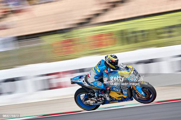 Tom Luthi of Switzerland and and Team EG 00 Marc VDS rides during free practice for the MotoGP of Catalunya at Circuit de Catalunya on at Circuit de...