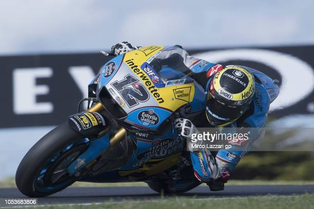 Tom Luthi of Switzerland and and Team EG 00 Marc VDS rounds the bend during free practice for the 2018 MotoGP of Australia at Phillip Island Grand...