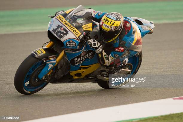 Tom Luthi of Switzerland and and Team EG 0,0 Marc VDS rounds the bend during the Moto GP Testing - Qatar at Losail Circuit on March 2, 2018 in Doha,...