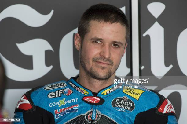 Tom Luthi of Switzerland and and Team EG 00 Marc VDS smiles in box during the MotoGP Tests In Thailand on February 17 2018 in Buri Ram Thailand