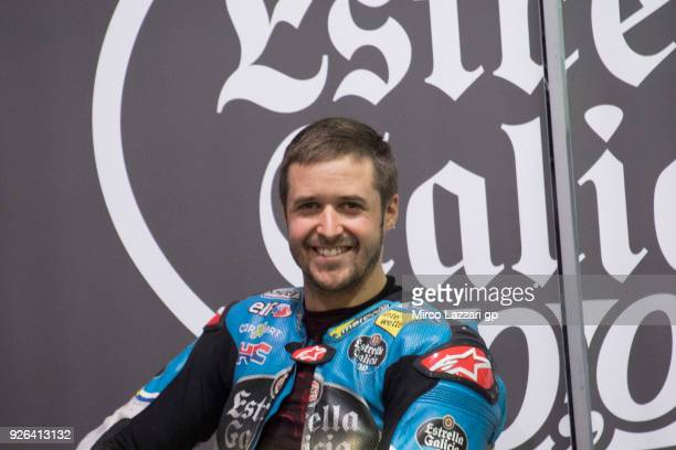 Tom Luthi of Switzerland and and Team EG 00 Marc VDS smiles in box during the Moto GP Testing Qatar at Losail Circuit on March 2 2018 in Doha Qatar