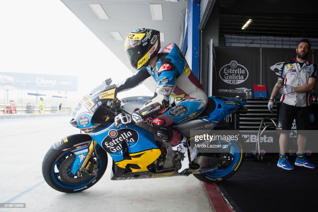 Tom Luthi of Switzerland and and Team EG 0,0 Marc VDS starts from box during the MotoGP Tests In Thailand on February 18, 2018 in Buri Ram, Thailand.