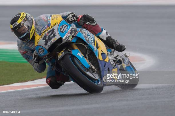 Tom Luthi of Switzerland and Team EG 00 Marc VDS rounds the bend during the qualifying practice during the MotoGP Of Valencia Qualifying at Ricardo...