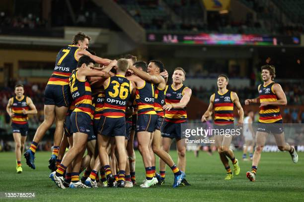 Tom Lynch of the Crows celebrates after kicking a goal during the round 23 AFL match between Adelaide Crows and North Melbourne Kangaroos at Adelaide...