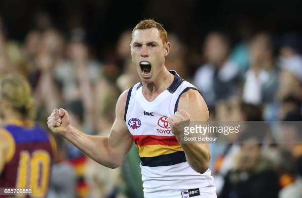Tom Lynch of the Crows celebrates after kicking a goal during the round nine AFL match between the Brisbane Lions and the Adelaide Crows at The Gabba...