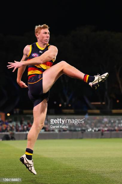 Tom Lynch of the Crows kicks the ball during the round 10 AFL match between the Adelaide Crows and the Melbourne Demons at Adelaide Oval on August 05...