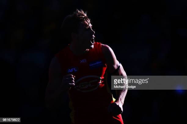 Tom Lynch of the Suns celebrates a goal during the round 14 AFL match between the Hawthorn Hawks and the Gold Coast Suns at University of Tasmania...