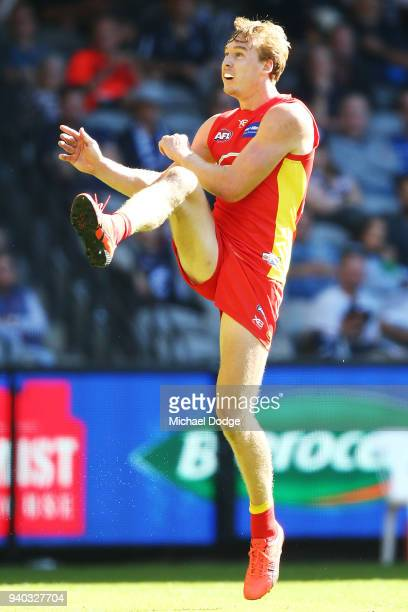 Tom Lynch of the Suns kicks the ball during the round two AFL match between the Carlton Blues and the Gold Coast Suns at Etihad Stadium on March 31...
