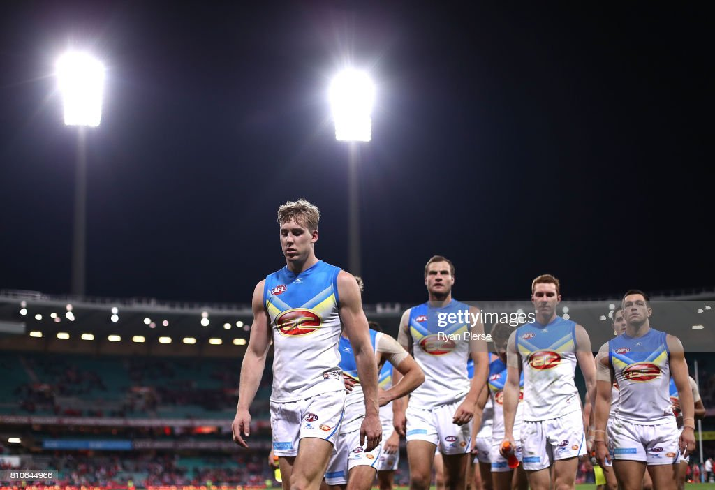 Tom Lynch of the Suns leads his team from the ground after the round 16 AFL match between the Sydney Swans and the Gold Coast Suns at Sydney Cricket Ground on July 8, 2017 in Sydney, Australia.