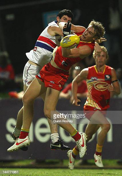 Tom Lynch of the Suns marks during the round eight AFL match between the Western Bulldogs and the Gold Coast Suns at TIO Stadium on May 19, 2012 in...