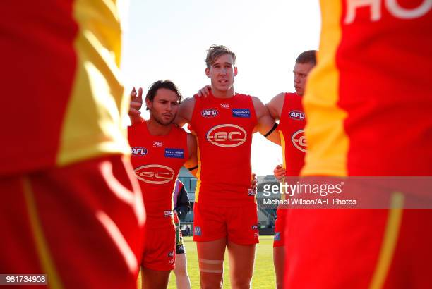 Tom Lynch of the Suns speaks with his players during the 2018 AFL round 14 match between the Hawthorn Hawks and the Gold Coast Suns at UTAS Stadium...