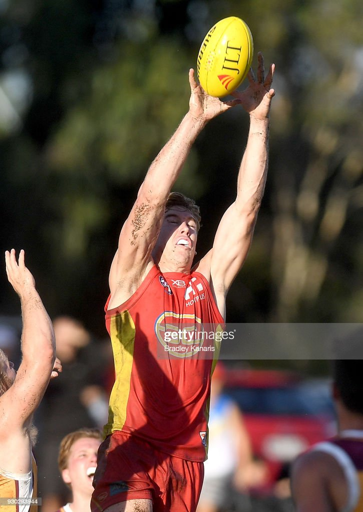 Tom Lynch of the Suns takes a mark during the JLT Community Series AFL match between the Gold Coast Suns and the Brisbane Lions at Fankhauser Reserve on March 11, 2018 in Brisbane, Australia.