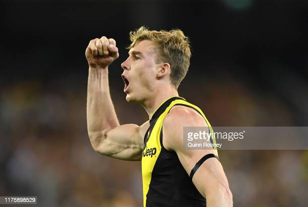 Tom Lynch of the Tigers celebrates kicking a goal during the AFL Preliminary Final match between the Richmond Tigers and the Geelong Cats at...