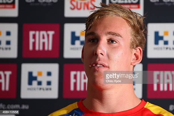 Tom Lynch speaks to media after a Gold Coast Suns training session at Metricon Stadium on November 5 2014 in Gold Coast Australia