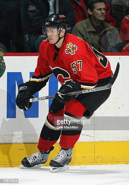 Tom Maki of the Calgary Flames skates against the Minnesota Wild during their NHL game at Pengrowth Saddledome in Calgary Alberta Canada The Flames...