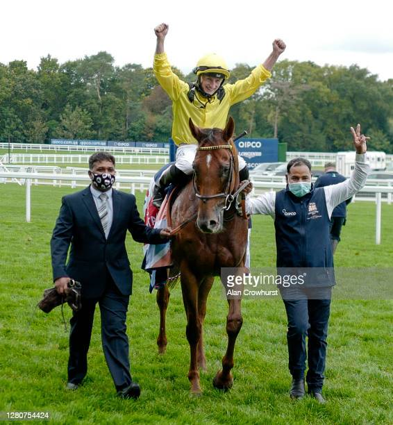 Tom Marquand after riding Addeybb to win The Qipco Champion Stakes during the Qipco British Champions Day at Ascot Racecourse on October 17, 2020 in...