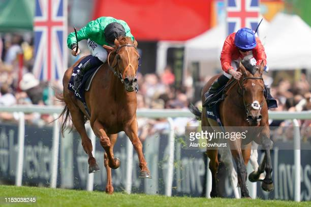 Tom Marquand riding Anna Nerium win The Princess Elizabeth Stakes at Epsom Racecourse on June 01, 2019 in Epsom, England.