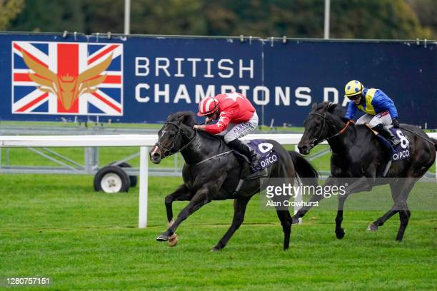 Tom Marquand riding Njord wins The Balmoral Handicap during the Qipco British Champions Day at Ascot Racecourse on October 17, 2020 in Ascot,...