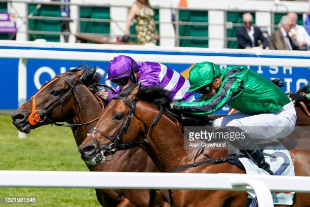Tom Marquand riding Oh This Is Us win The Cazoo Diomed Stakes at Epsom Racecourse on June 05, 2021 in Epsom, England. Due to the Coronavirus...