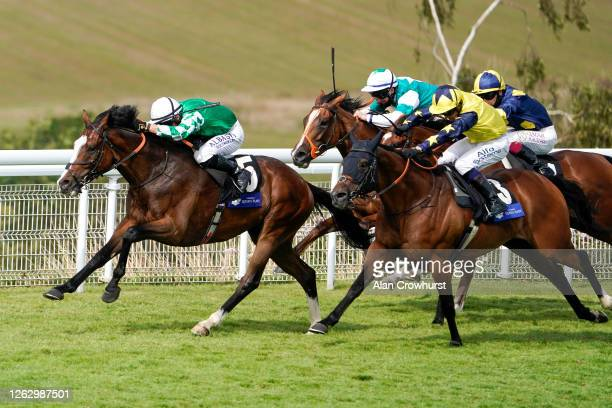 Tom Marquand riding Pablo Escobarr win The L'Ormarins Queen's Plate Glorious Stakes at Goodwood Racecourse on July 31 2020 in Chichester England...