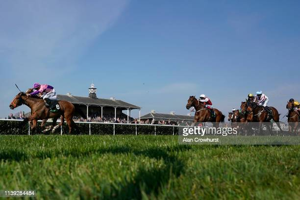 Tom Marquand riding Petrus win The Unibet Spring Mile Handicap at Doncaster Racecourse on March 30, 2019 in Doncaster, England.