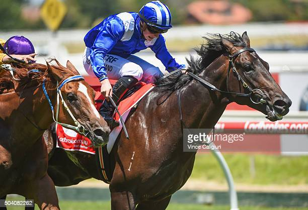 Tom Marquand riding Tashbeeh wins Race 3 during Melbourne racing at Caulfield Racecourse on January 9 2016 in Melbourne Australia
