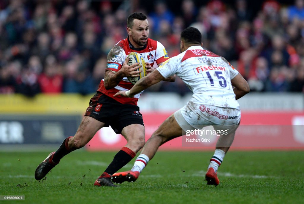 Tom Marshall of Gloucester Rugby in action during the Aviva Premiership match between Gloucester Rugby and Leicester Tigers at Kingsholm Stadium on February 10, 2018 in Gloucester, England.