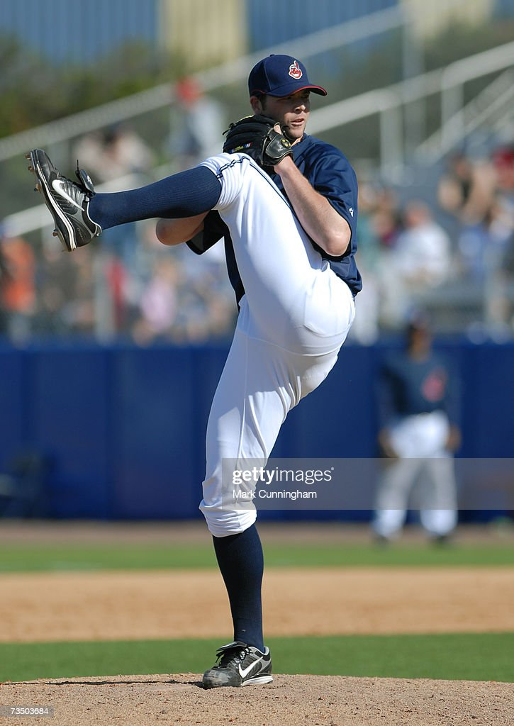 Tom Mastny of the Cleveland Indians pitches during the game against the Detroit Tigers at Chain O' Lakes Park in Winter Haven, Florida on March 4, 2007. The Tigers defeated the Indians 7-4.
